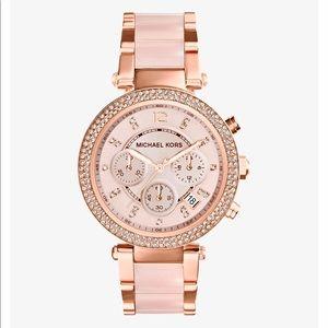Michael Kors Rose Gold-Tone Blush Acetate Watch